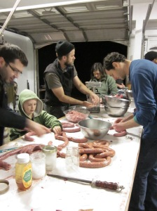 Sausage-making.